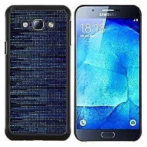 KLONGSHOP // Cubierta de piel con cierre a presión Shell trasero duro de goma Protección Caso - Patrón Hacker Azul - Samsung Galaxy A8 A8000 //