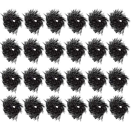 (Qpower 24PCS Cheerleading Poms Squad Spirited Fun Cheering Metallic Foil Plastic Pom with Baton Handle for Dance Party Football Club Decoration Black)