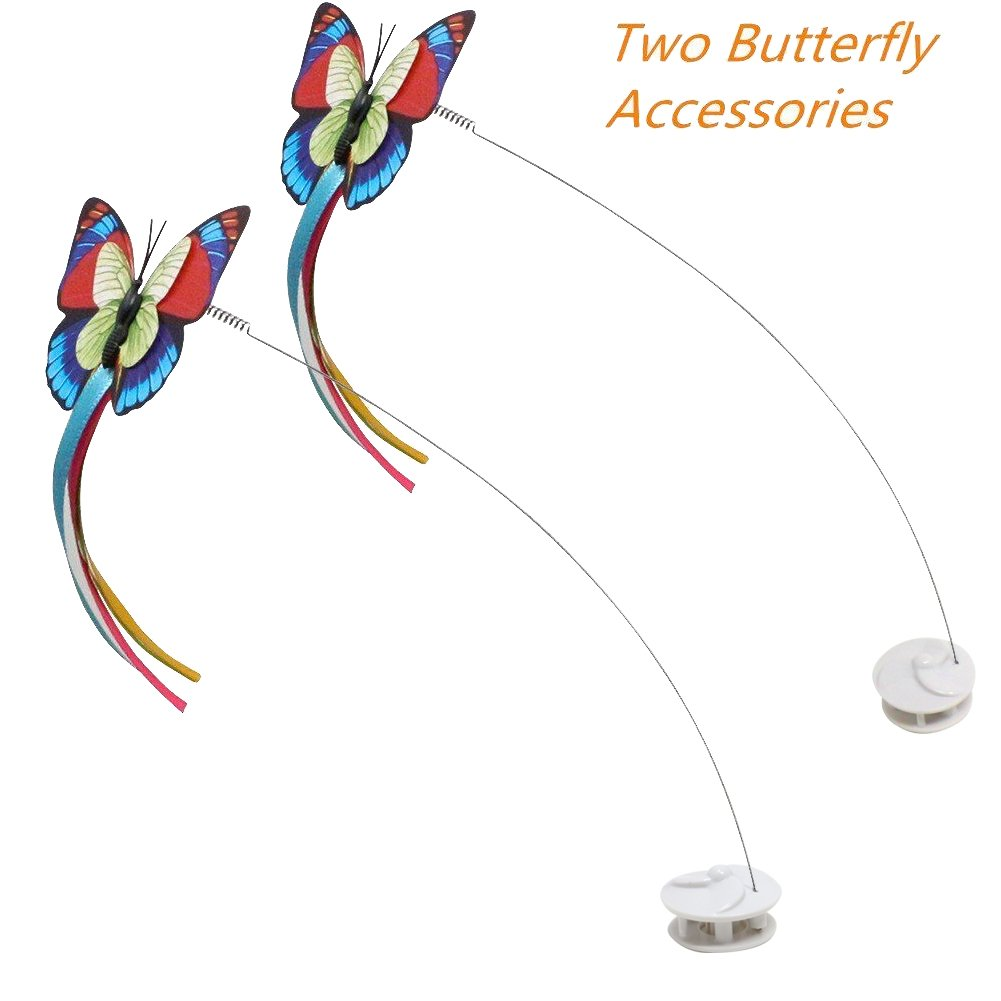 cabe8a0b83e854 Amazon.com   Bascolor Electric Rotating Butterfly Cat Toys Two Flashing  Butterflies Interactive Cat Teaser Toy   Pet Supplies