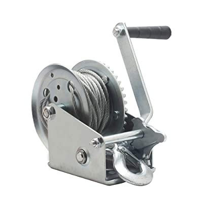 OPENROAD 1600lbs Hand Winch with Cable Manual Winch for Boat Trailer,ATV Hand Winch(10m): Home Improvement