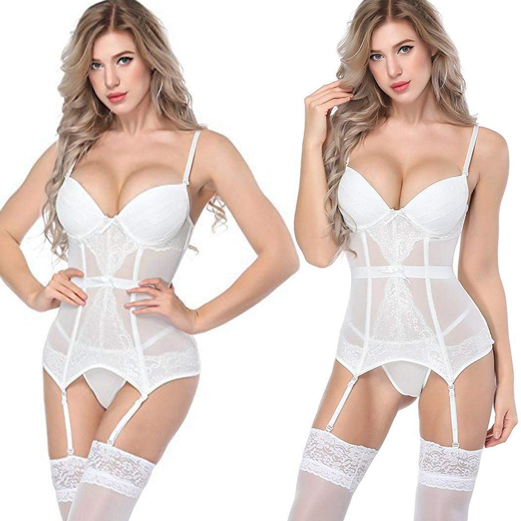 UpBeauty New Women Spaghetti Straps Mesh Regular fit Soft Sexy Lingerie Underwear Lingerie Sets White