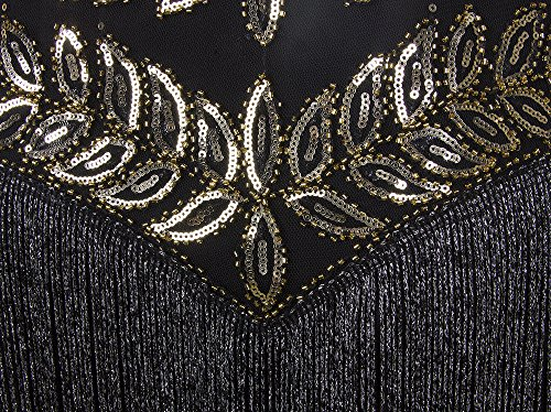 Vikoros - Vestido - Noche - Paisley - Sin mangas - para mujer Black Gold