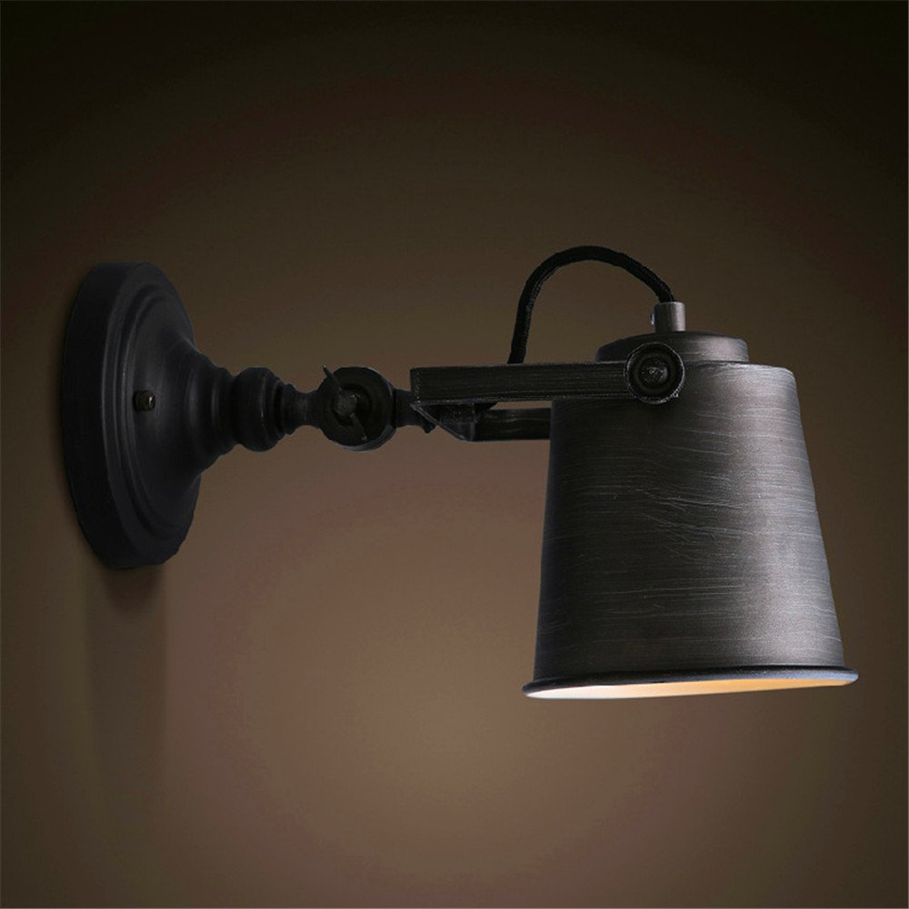 Avanthika E27 Wall Sconces Mounted Wall Lamps Loft Industrial Village Iron Wall Lights Restaurant Balcony Small Machine Wall Light, Black