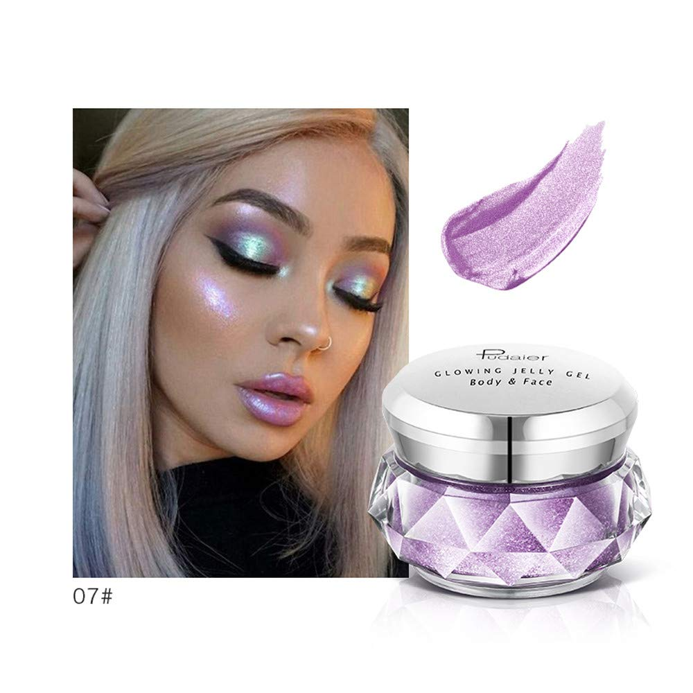 GoodLock Hot!! 8 Colors Fashion Jelly Gel Highlighter Ladies Concealer Shimmer Face Glow Eyeshadow Hig Colorful Makeup - Long-Lasting - Highly Pigmented Natural (G)