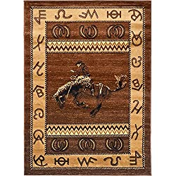 "Rugs 4 Less Collection Cowboy Horse Western Cabin Style Lodge Area Rug Design R4L 370 (5'2""X7'3"")"