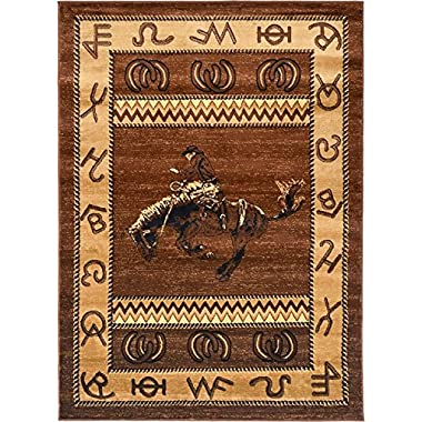 Rugs 4 Less Collection Cowboy Horse Western Cabin Style Lodge Area Rug Design R4L 370 (5'2 X7'3 )