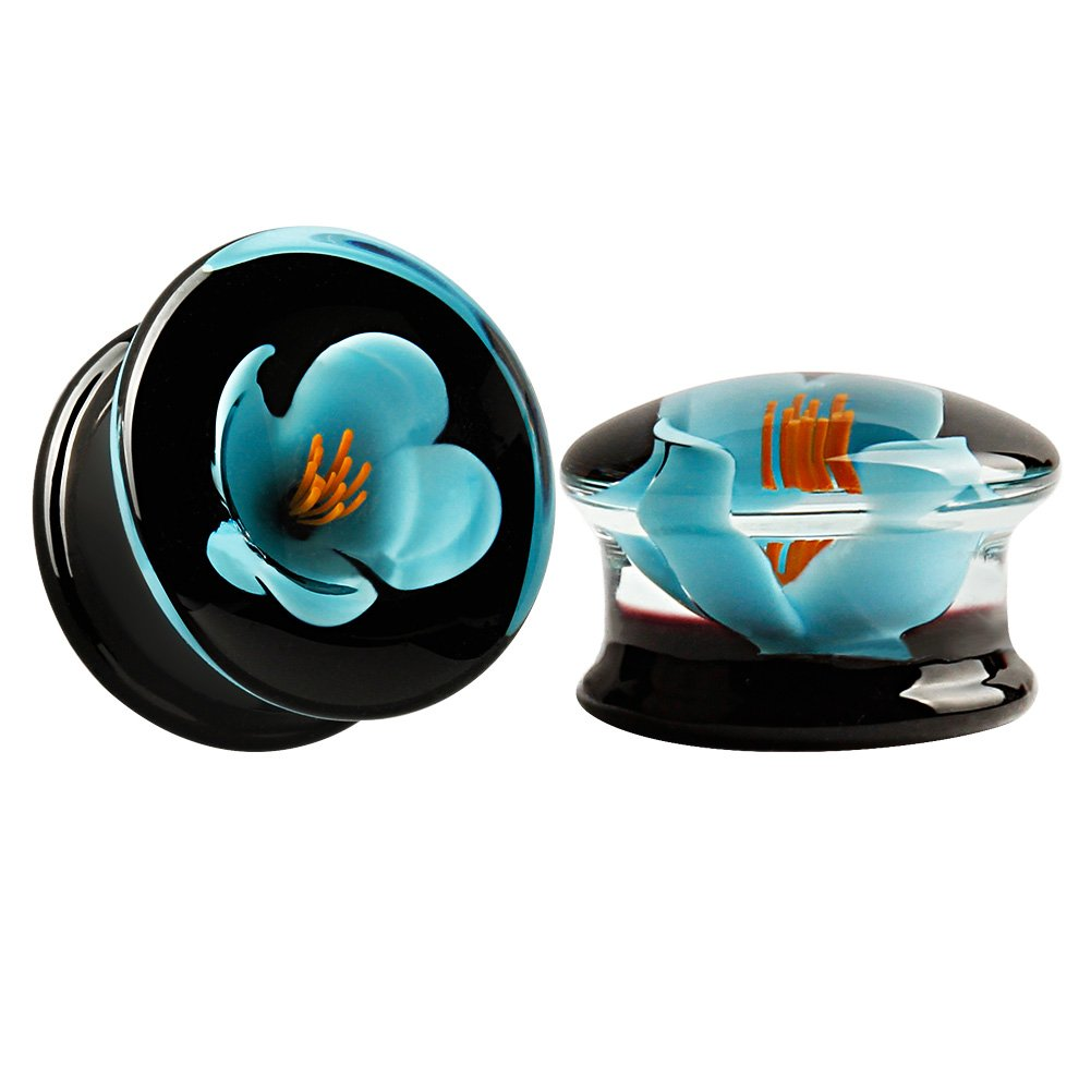 KUBOOZ(1 Pair Glass-Handmade Blue Flower Ear Plugs Tunnels Gauges Stretcher Piercings 00g by KUBOOZ