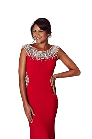 Tiffanys Illusion Prom Red Izzy Beaded Neckline Prom Dress UK 6 (US 2)