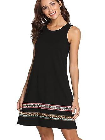 9b3a14ecc145 Romwe Women s Casual T-Shirt Sleeveless Swing Dress Tunic Tank Top Dresses  - Black -