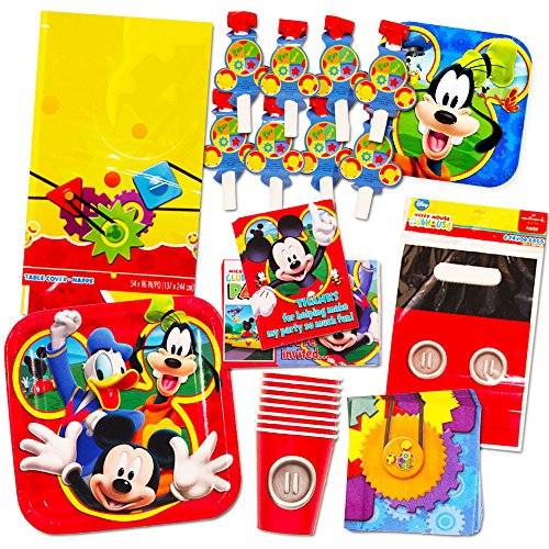 Mickey Mouse Party Supplies Ultimate Set (95 Pieces) -- Party Favors, Birthday Party Decorations, Plates, Cups, Napkins, Table Cover and More!