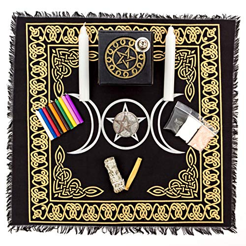 Alternative Imagination Deluxe Wiccan Altar Supply Kit Featuring Pentagram Altar Table