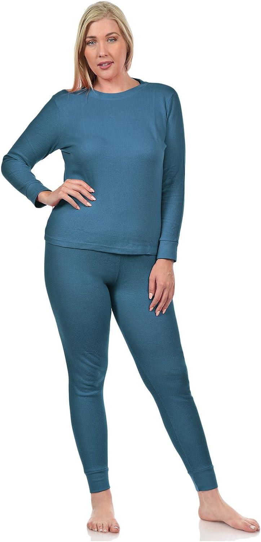 BASICO Womens 2pc Long John Thermal Underwear Set 100/% Cotton