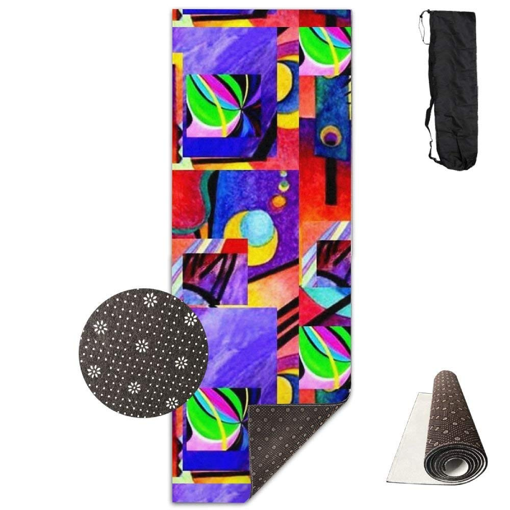 Purple Kandinsky Collage,Eco-Friendly Non-Slip Yoga Mat Thick Pro Exercise and Pilates Mat with A Yoga Bag Waterproof Yoga Mats Fitness