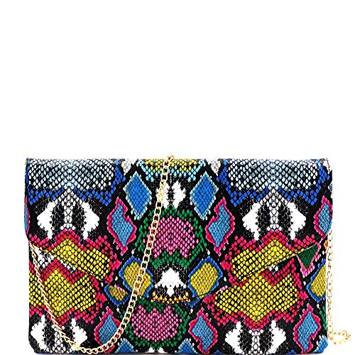 Snake-Print-Leather-Envelope-Clutch-Purse-with-Crossbody-Chain-Strap
