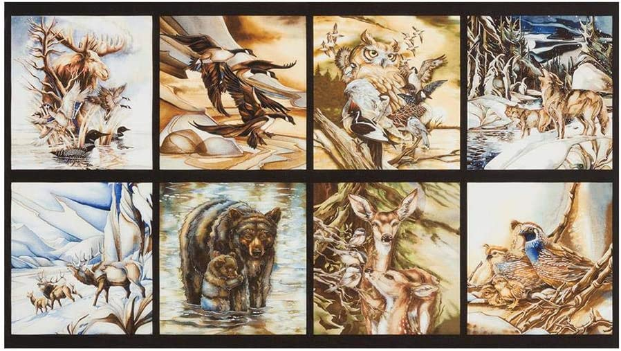 Robert Kaufman North American Wildlife 24'' Panel Fabric, Nature