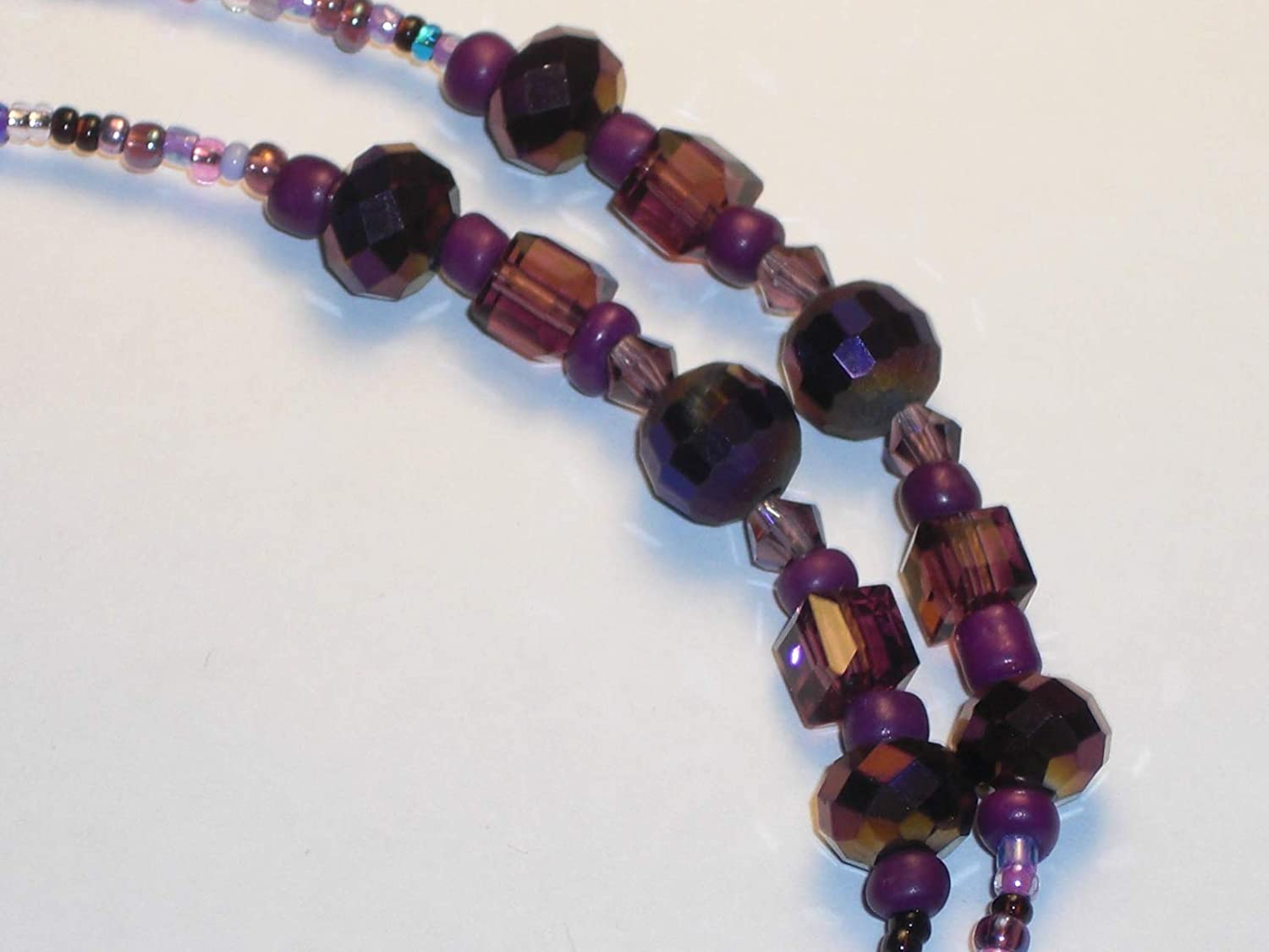 """Eyeglass Chain~Purple Mix~28/""""~Crystal Accents~A Gift for Mother ~Buy 3 SHIP FREE"""