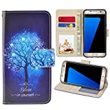 RusseryPek Galaxy S7 Case, Samsung Galaxy S7 Wallet Case, Premium PU Leather Wristlet Flip Case Cover with Card Slots & Stand for Galaxy S7 -Believe in yourself