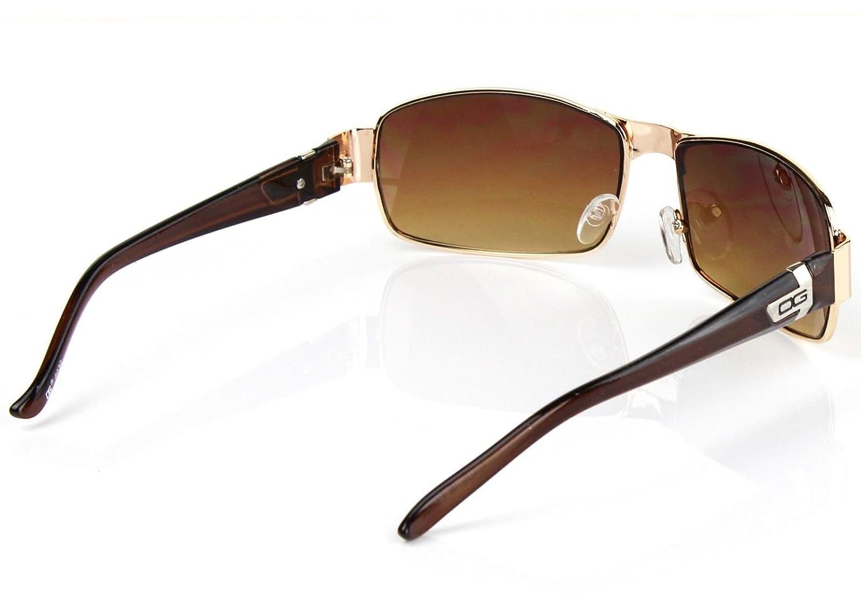 DG Eyewear Mens Womens Rectangular Sunglasses Fashion Wrap Around Gold Retro