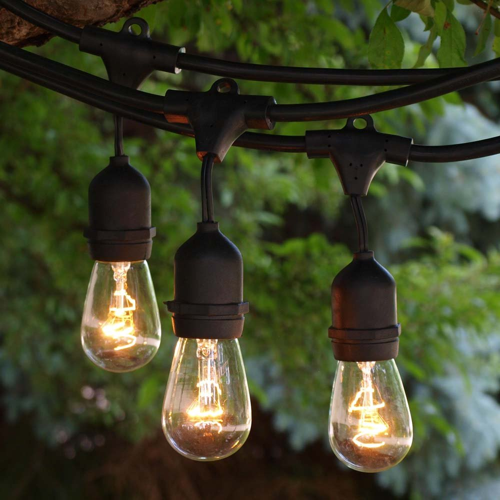 Outdoor String Lighting - 48 ft Black Suspended - Clear 11S14 Bulbs