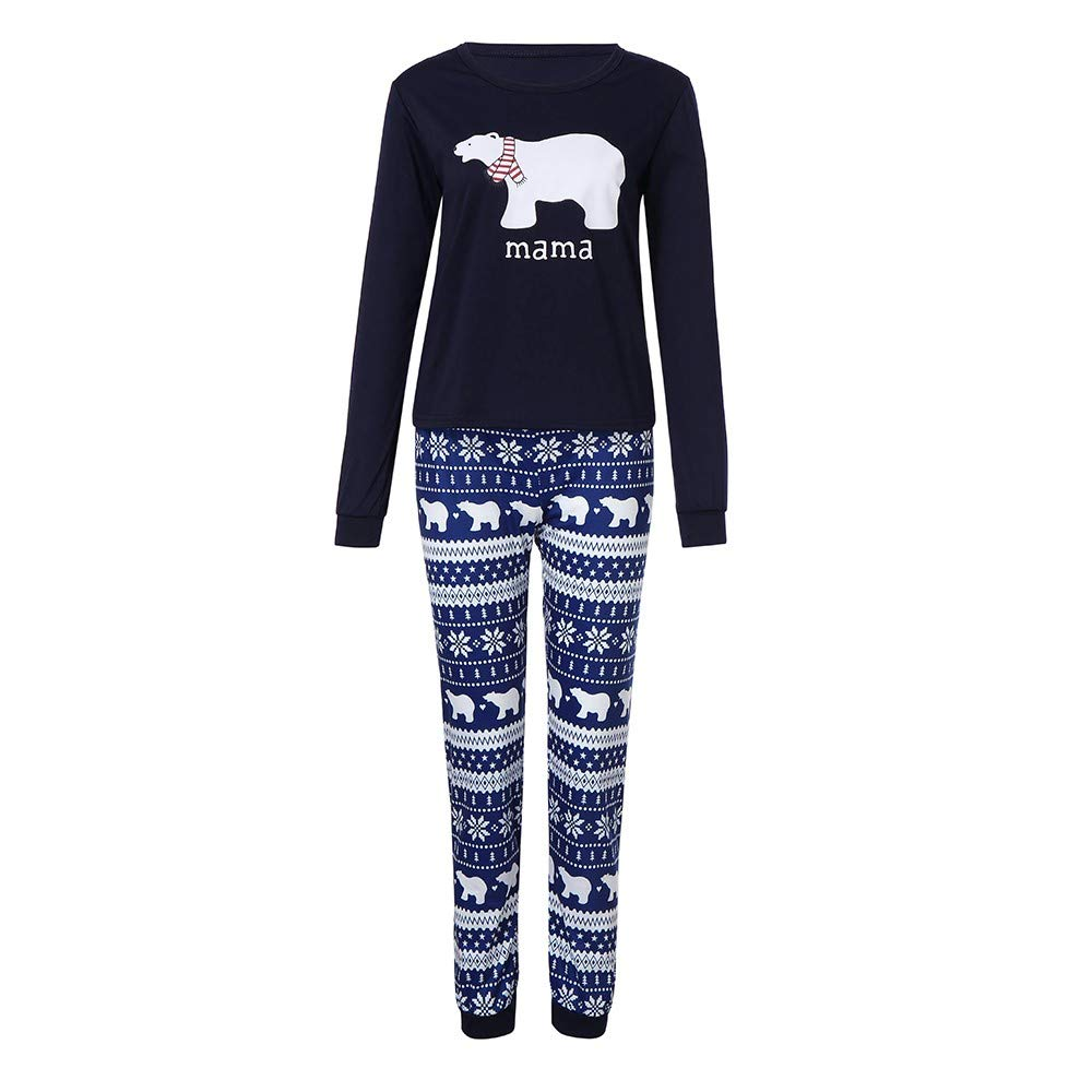 Sagton Family Matching Outfit Clothes Set Women Men Kid Christmas Bear Top Snowflake Pants Sleepwear (M, Mommy)