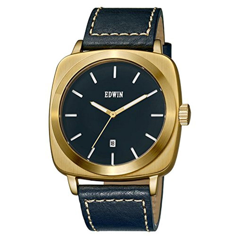 Edwin ew1g018l0054 Edelstahl blau Leder Band Blau Zifferblatt Armbanduhr