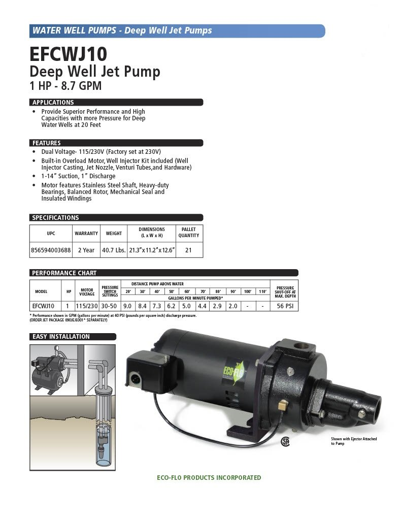 ECO-FLO Products EFCWJ10 Deep Water Well Jet Pump, 1 HP, 20 GPM on