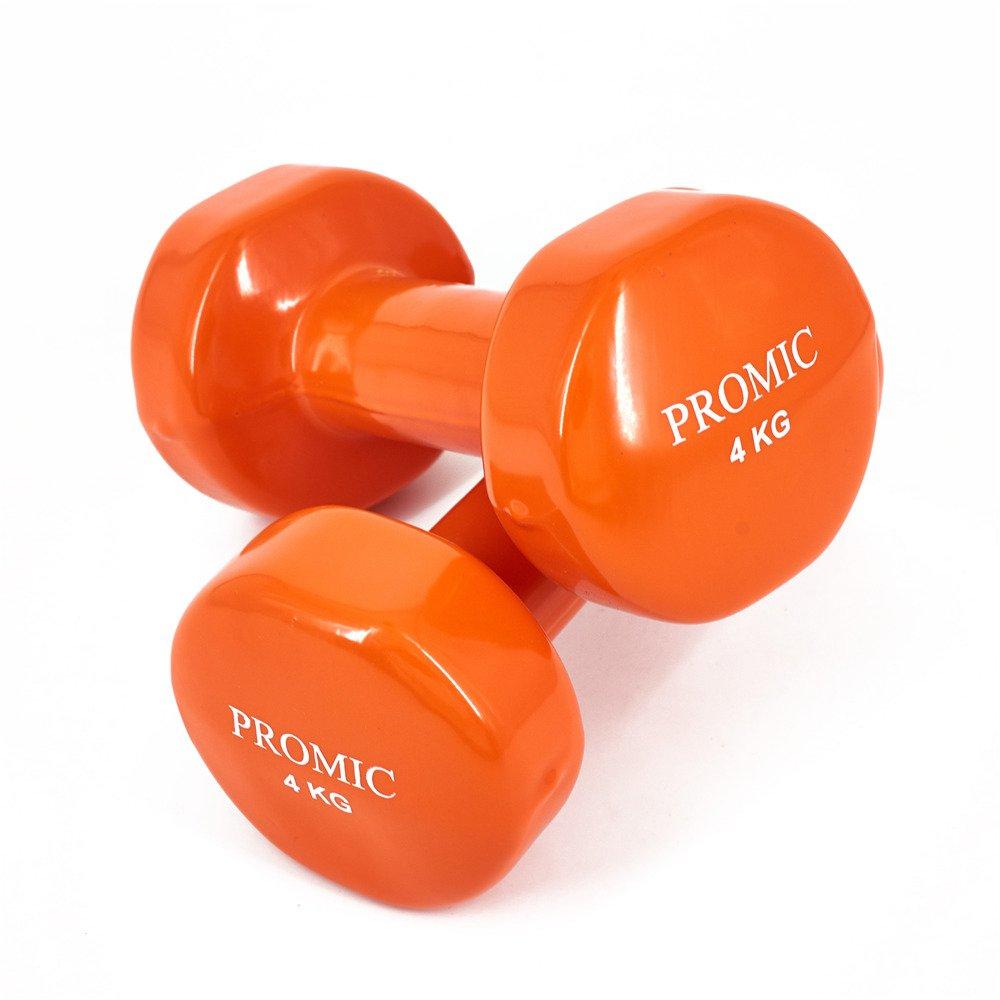 PROMIC Kurzhanteln, 2er Set Hanteln, gutem 0,5kg-10kg Gymnastikhanteln, Vinyl Hanteln Set mit gutem Hanteln, Grip, Gewichte Kurz Hanteln Set für Aerobic Pilates, 13 Gewichts-und Farbvarianten cd03c4