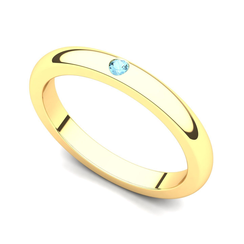 14k Yellow Gold Bezel set Aquamarine Band Ring, 9