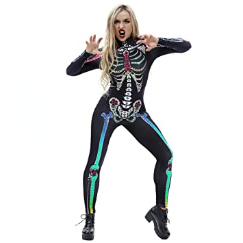 women halloween costumes ghost skeleton jumpsuit party tight slim fit cosplay costume black f