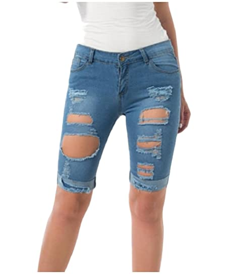 5325308ed2a RDHOPE-Women Destroyed Rolled Cuff with Pocket Denim Bermuda Short Light  Blue S