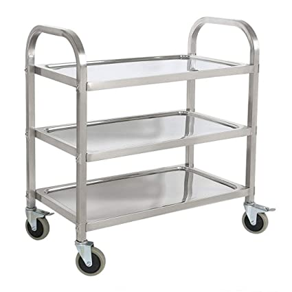 Stainless Steel 3 Shelf Utility Service Storage Cart For Restaurant Catering Kitchen Up To 300 Lbs Capacity Stainless Steel Carts 295x157x329