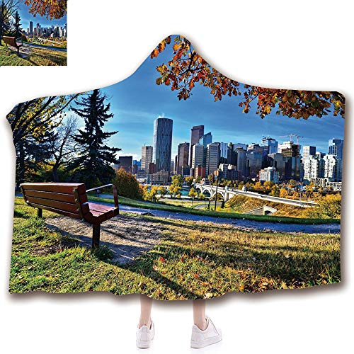 Fashion Blanket Ancient China Decorations Blanket Wearable Hooded Blanket,Unisex Swaddle Blankets for Babies Newborn by,Skyline of Calgary Alberta During Autumn Tranquil,Adult Style Children Style
