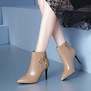 GZZ Chaussures Européennes Et Américaines Marée Bottes d'automne Et d'hiver avec des Bottes Nues Pointues Martin à Talons Hauts