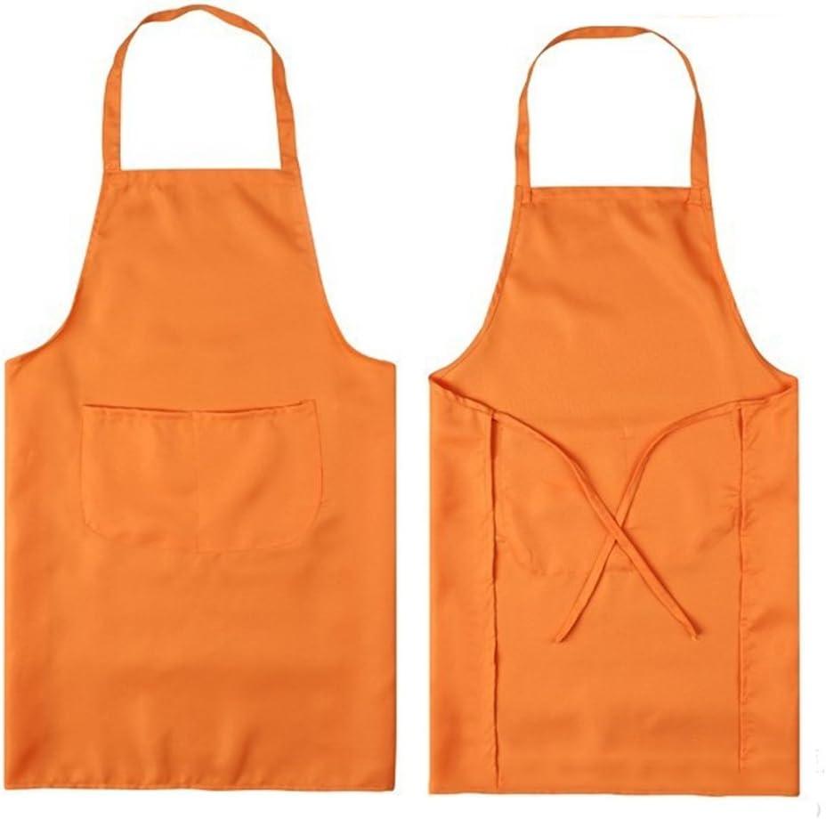 Kangkang@ Unisex Cooking Baking Tools Aprons Bib with Front Pockets for Kitchen Restaurant Housework Apron delantal avental (orange)