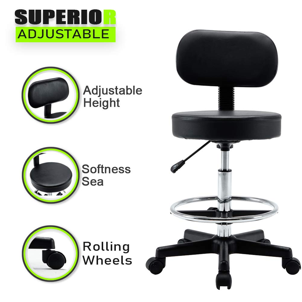 Adjustable Hydraulic Rolling Swivel Bar Stool Chair Salon Spa Stools Rest 360-degree Work Drafting Rolling Stool with Heavy Duty Metal Base for Clinic Dentist Spa Massage Office Set of 2 Black