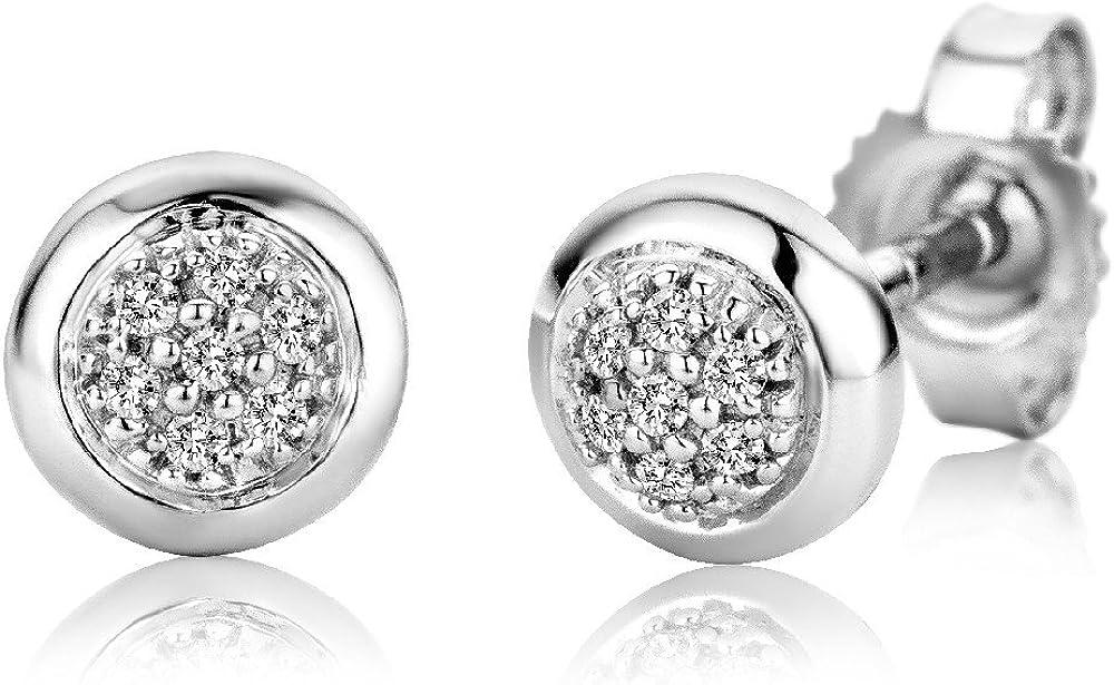 Miore SA979E - Pendientes de oro blanco de 9 quilates con diamante (.06) con cierre de mariposa a presión