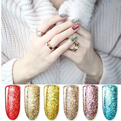 CLAVUZ Starry Gel Polish 6pcs Soak Off Super Bling Gel Nail Lacquer Set Glitter Nail Art Manicure New Starter Gift Kit
