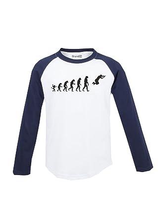 The evolution of parkour, Kinder Langarm Baseball T-Shirt - Weiss & Blau 5