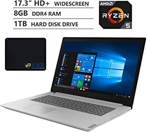 "2020 Newest Lenovo Ideapad L340 Laptop, 17.3"" HD+ Screen, AMD Ryzen 5 3500U Quad-Core Processor, 8GB DDR4 RAM, 1TB Hard Disk Drive, DVD, HDMI, Wi-Fi, Bluetooth, Windows 10 Home, Grey, KKE Mousepad"