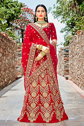 Da Facioun Indian Women Designer Partywear Ethnic Traditional Lehenga Choli. Da Facioun Femmes Indiennes Concepteur Choli Lehenga Traditionnels Ethniques Partywear. Red 4 Rouge 4