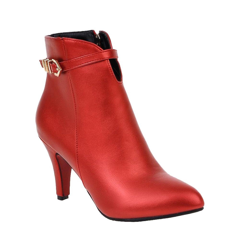 MissSaSa Damen high heel Pointed Toe Knöchelriemchen Ankle-boots mit Reißverschluss (34, Schwarz)