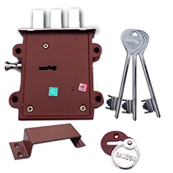 Ramson Dyna Queen 8 Levers 125 mm 3 Keys Double Chal Door Inter Lock With A Towerbolt ( 2 In One) Operated From Both Side Of The Door. (Silver) Dead Bolts at amazon
