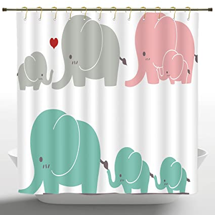 Funky Shower Curtain By IPrintNurseryFamily Love Theme Cute Sweet Elephants Mothers Day