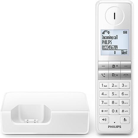 Philips D4601W - Teléfono inalámbrico Elegante con Manos Libres, identificación de Llamadas entrantes, configuración fácil, Sonido Puro y Claro, Blanco: Philips: Amazon.es: Electrónica