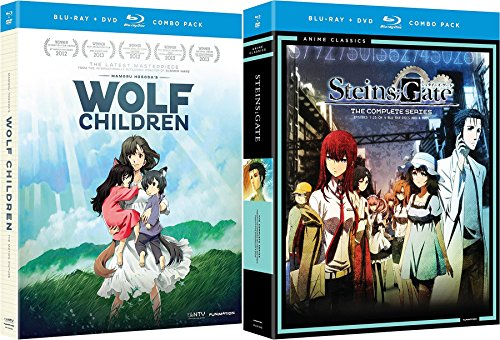 Anime Classics Wolf Children & Steinsgate: Complete Series Sci-Fi Blu Ray + DVD Changing the past animated Movie Pack