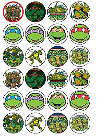 24 Teenage Mutant Ninja Turtles Edible Wafer Paper Cup Cake Toppers