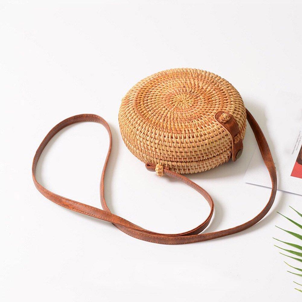 Sac tress/é /à la Main en Bambou pour Les Filles de la Femme d/ét/é Sac Rond Sac de Rangement