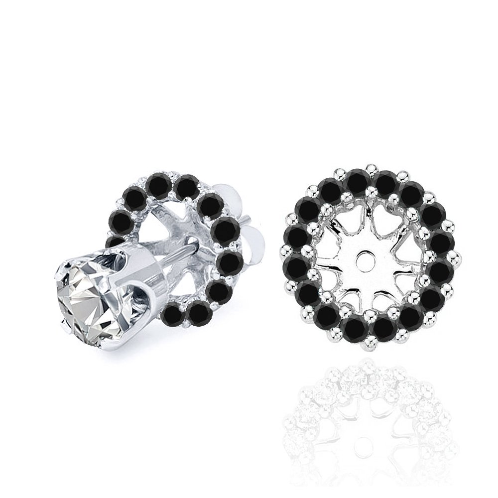 0.50 Carat Earring 0.44 Carat Black Diamond Halo Solitaire Stud Earring Jackets 14K White Gold For 4 MM