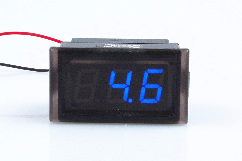 Waterproof Monitor 2-Wires DC 3.5-150v 12v 24v 36v 72v 96v Volt Battery Meter Voltage Tester Automative Electric Cars Gauge Small Digital Voltmeter BLUE 0.52'' LED Display by TOFKE (Image #2)