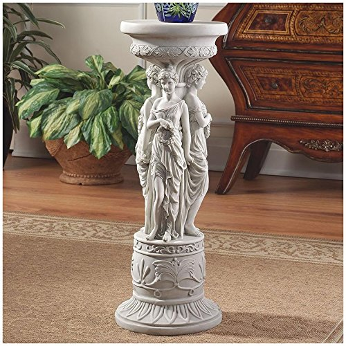 Design Toscano Chatsworth Manor Neoclassical Furniture Pedestal Column Plant Stand, 28 Inch, Polyresin, Antique Stone ()